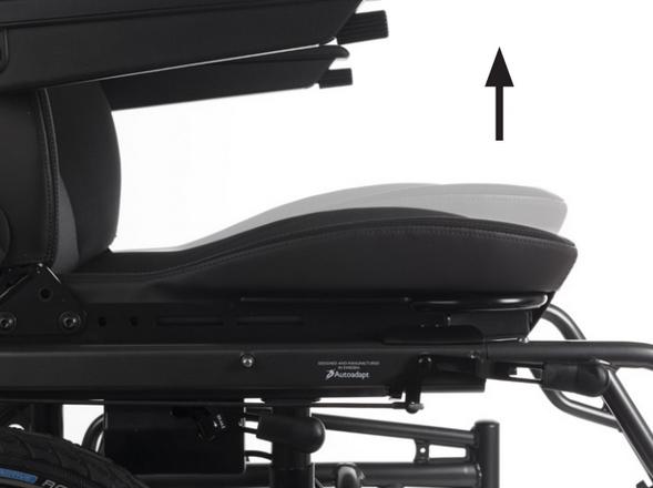 La hauteur de l'avant de l'assise est réglable à l'aide d'une poire.